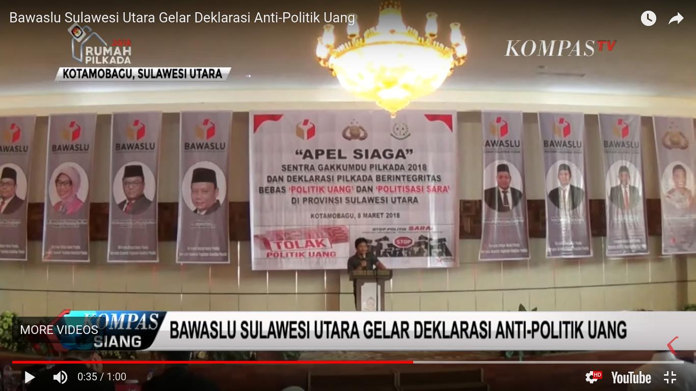 Bawaslu Sulawesi Utara Gelar Deklarasi Anti-Politik Uang