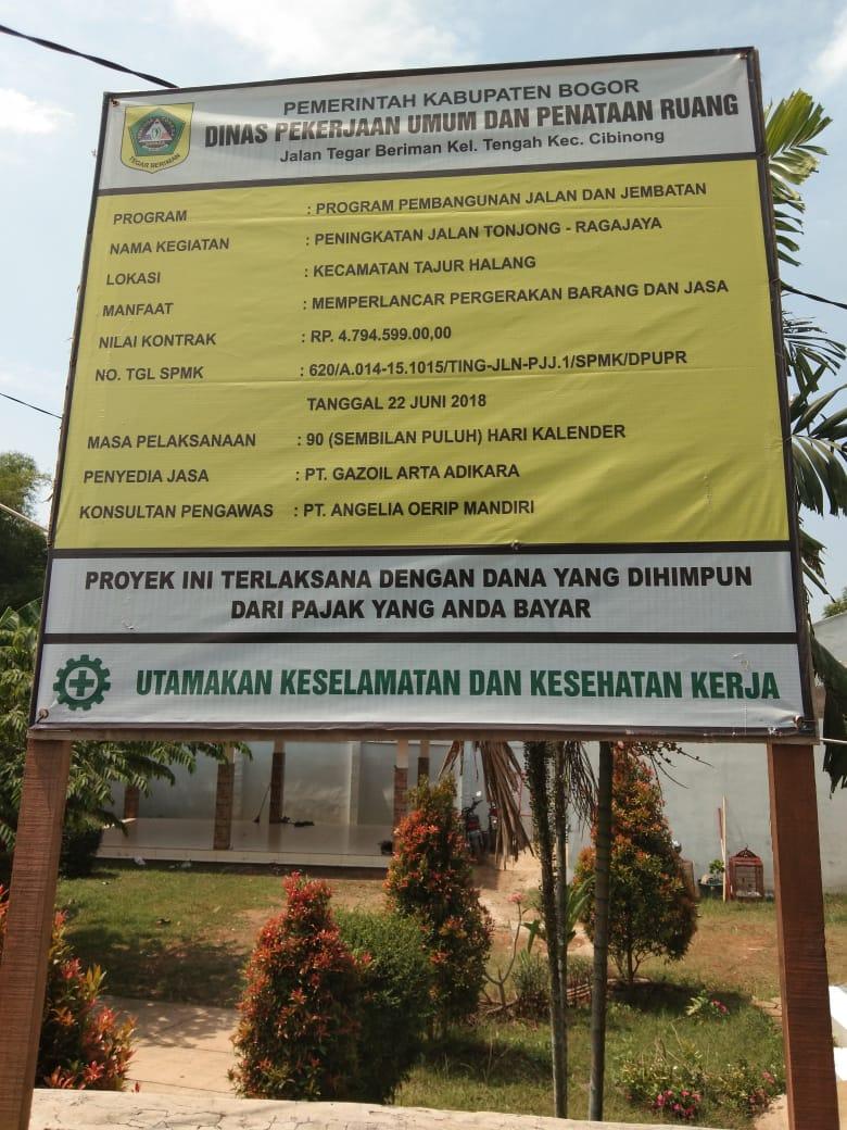 Diduga Sarat KKN Berjamaah, Pekerjaan Betonisasi Tonjong-Ragajaya Asal-Asalan