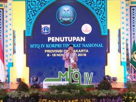 Sekda Hadiri Penutupan MTQ IV Korpri Tingkat Nasional