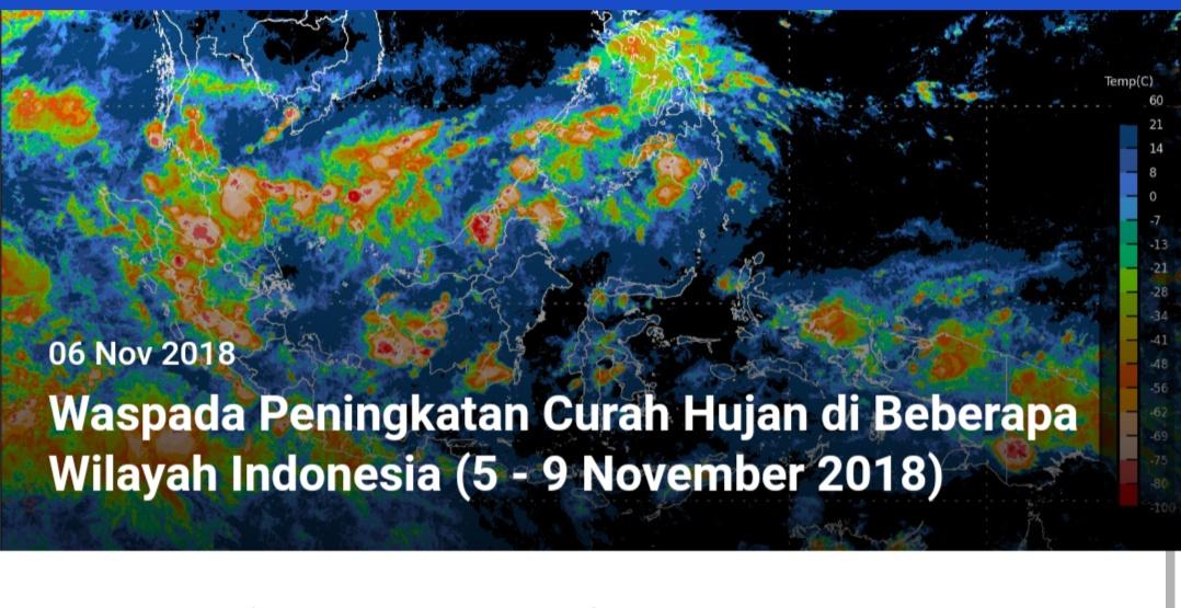 BMKG Himbau Terhadap Peningkatan Curah Hujan Di Beberapa Wilayah Indonesia Pada 5 Hari Kedepan