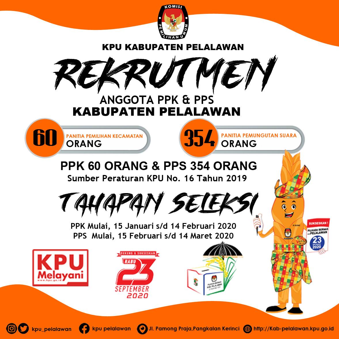 KPU kabupaten Pelalawan, Buka Seleksi Penerimaan Anggota PPK se-Kabupaten