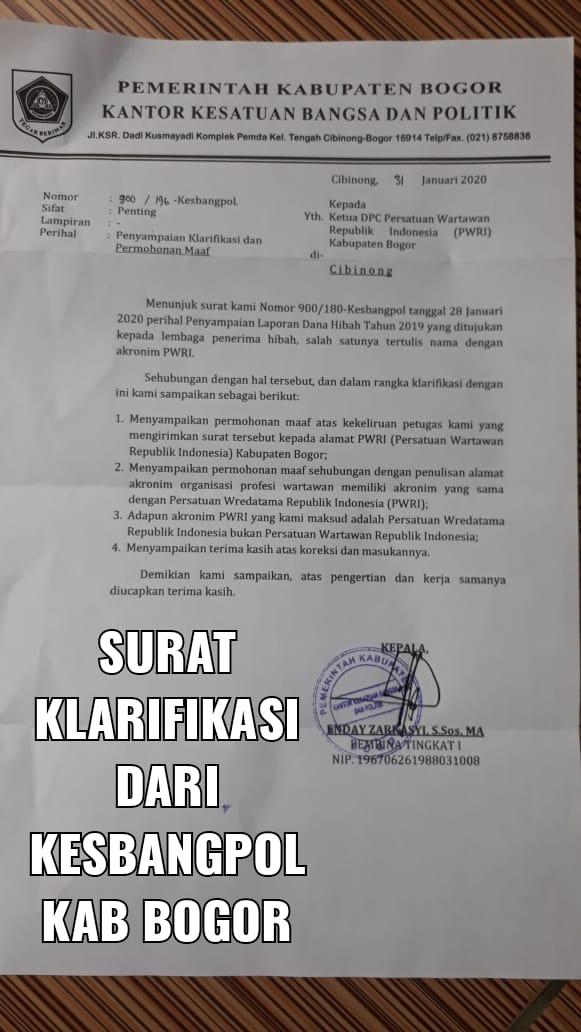 Permohonan Maaf Kesbangpol Salah Berikan Surat SPJ Ke DPC PWRI Bogor
