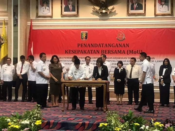 Bupati Dan Kejaksaan Lampung Utara Hadiri Penandatangan MOU Antara Pemda Dan Pemerintahan Provinsi Lampung