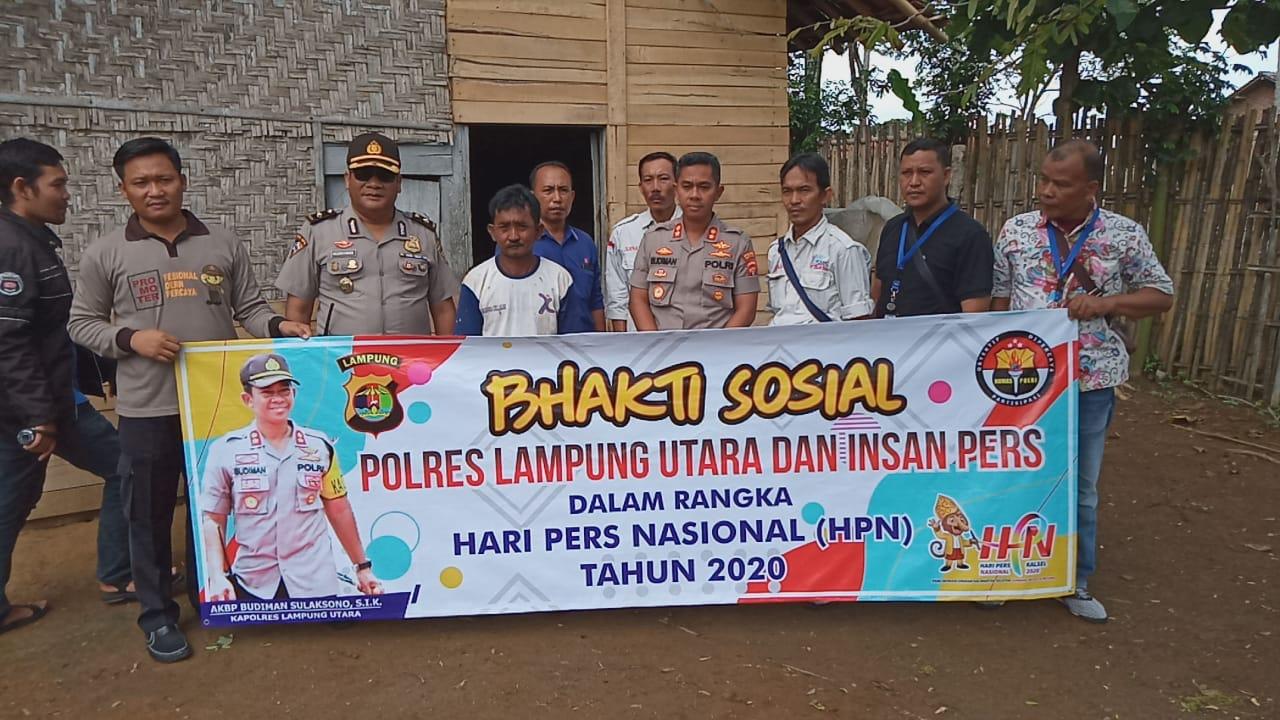 Peringati Hari Pers Nasional 2020, Polres Lampung Utara dan Insan Pers Gelar Bhakti Sosial