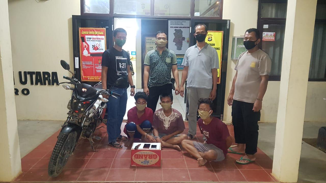 Tim Reskerim Polsek Kotabumi Utara Mengamankan Tiga Pelaku Curas