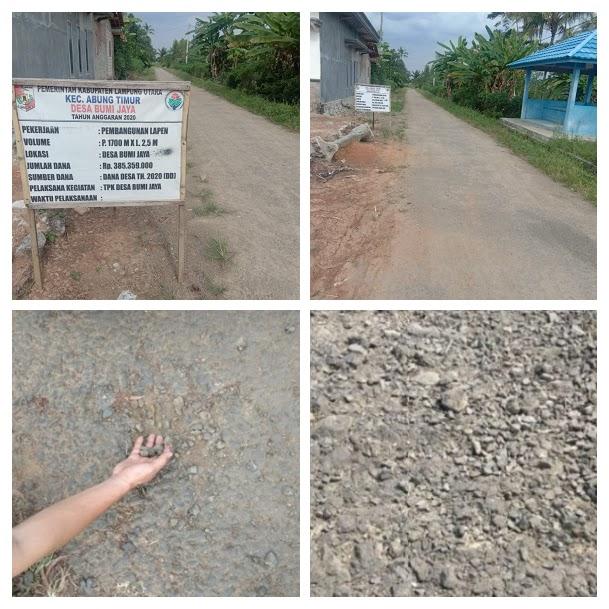 Pekerjaan Lapen Baru Seumur Jagung Di Desa Bumi Jaya Kecmatan Abung Timur Diduga Asal Jadi
