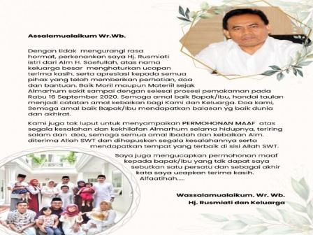 Surat Terbuka Dari Istri Almarhum Saefullah