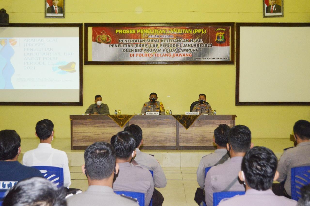 Bid Propam Polda Lampung Lakukan PPL Terhadap Puluhan Personel Polres Tulang Bawang, Ini Tujuannya