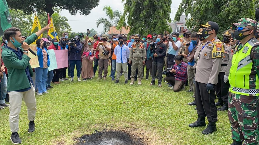 Kapolres Lampung Utara Pimpin Pengamanan Aksi Damai Jilid 2 Aliansi Mahasiswa
