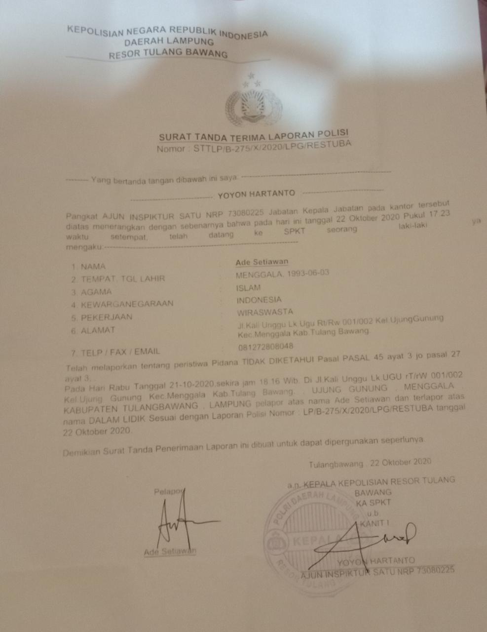 Ketua Iwo Resmi Laporkan Akun Sosmed