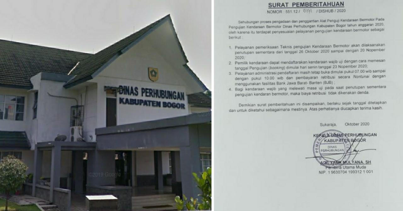 Penyesuaian Pelayanan Pengujian Kendaraan Bermotor, Dishub Kabupaten Bogor Lakukan Penutupan Sementara