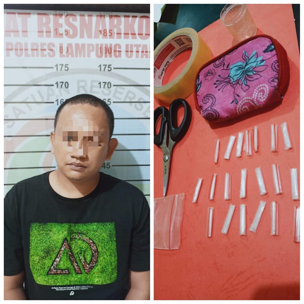 Satreserse Narkoba Polres Lampung Utara Temukan Barang haram Sebanyak 20 Paket Milik RA