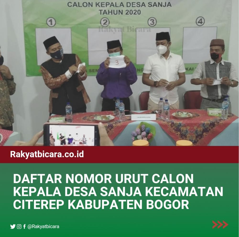 Berikut Daftar Nomor Calon Kepala Desa Sanja Kecamatan Citerep Kabupaten Bogor