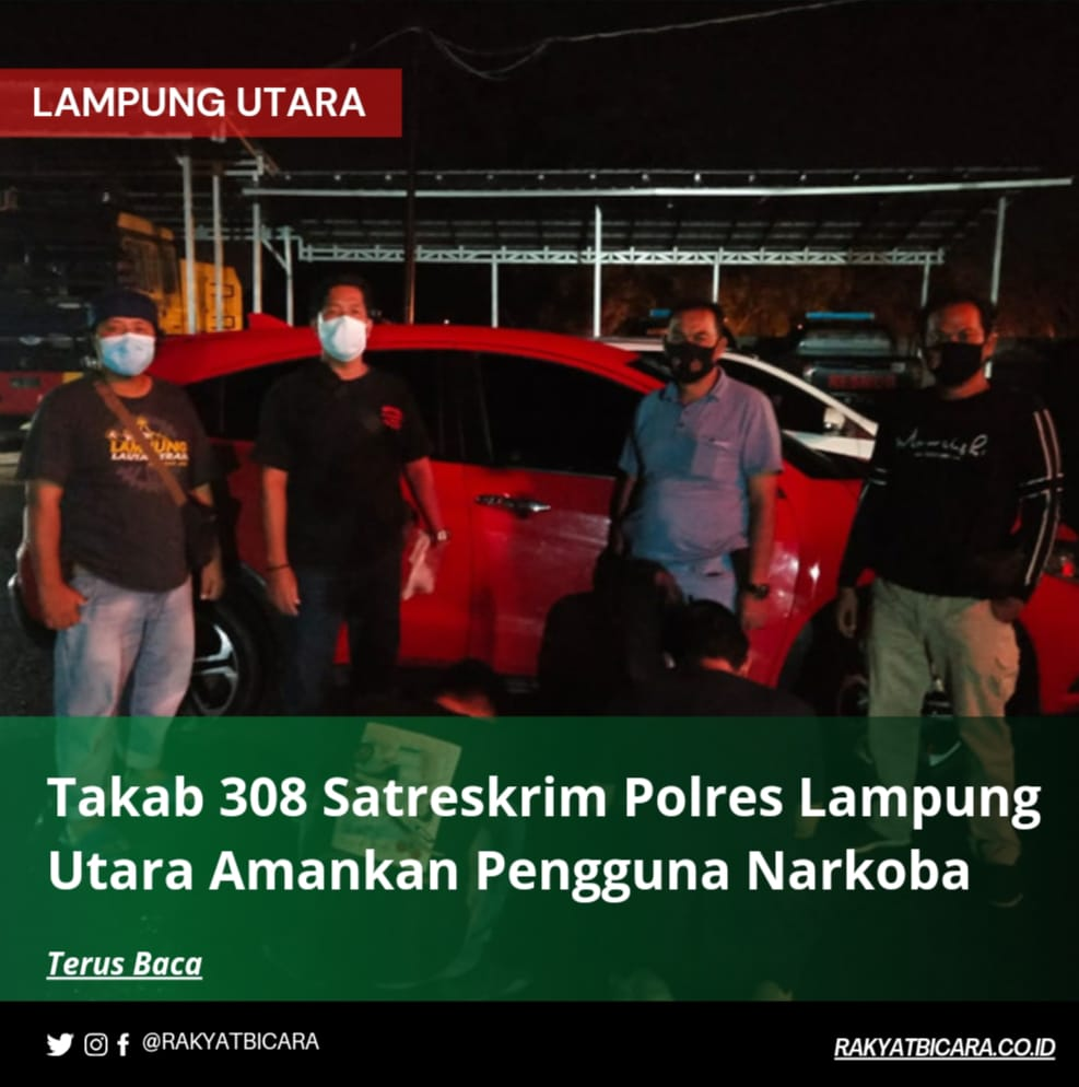 Tekab 308 Satreskrim Polres Lampung Utara Amankan Pengguna Narkoba