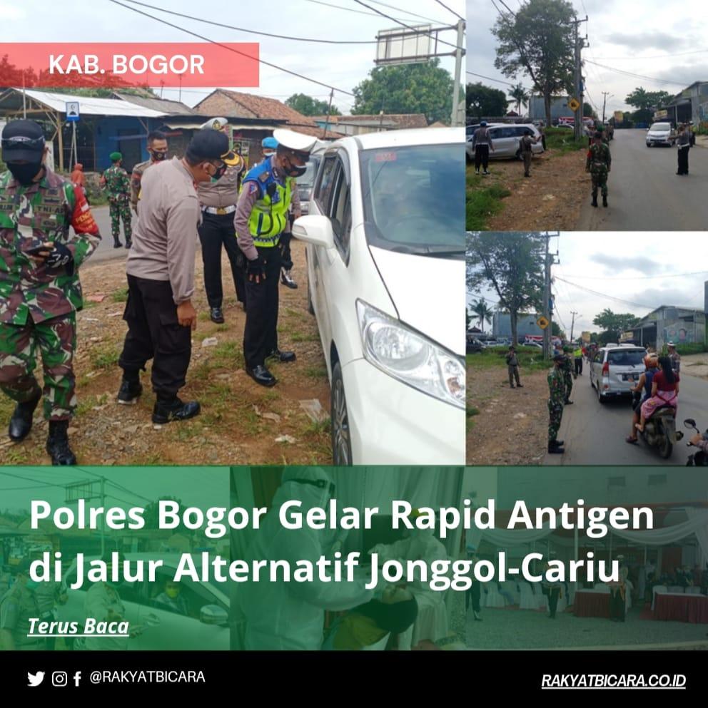 Polres Bogor Gelar Rapid Antigen Di Jalur Alternatif Jonggol – Cariu