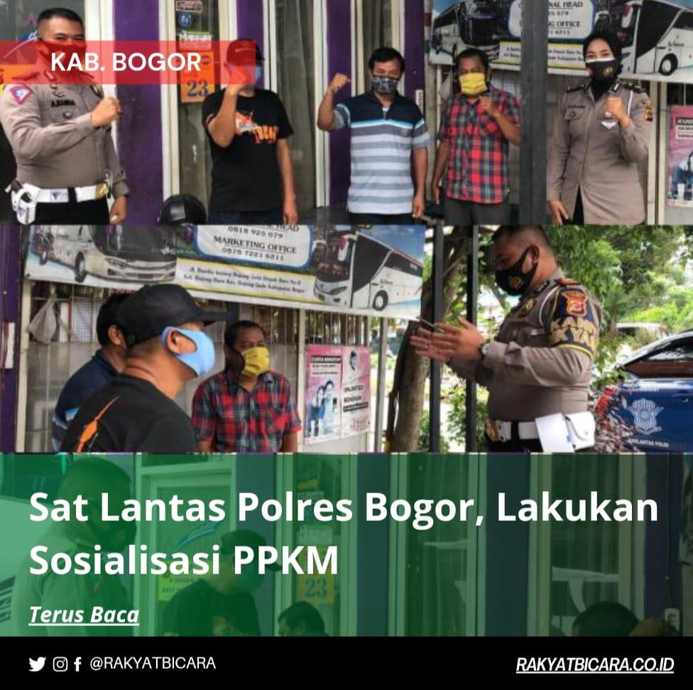Sat Lantas Polres Bogor Lakukan Sosialisasi PPKM