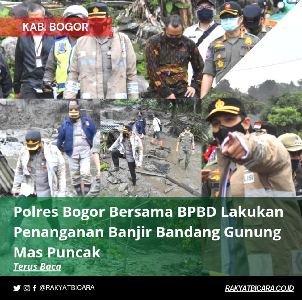 Polres Bogor Bersama BPBD Lakukan Penanganan Banjir Bandang Gunung Mas Puncak