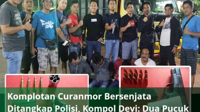 Komplotan Curanmor Bersenjata Ditangkap Polisi, Kompol Devi: Dua Pucuk Senpi dan Belasan Amunisi di Sita