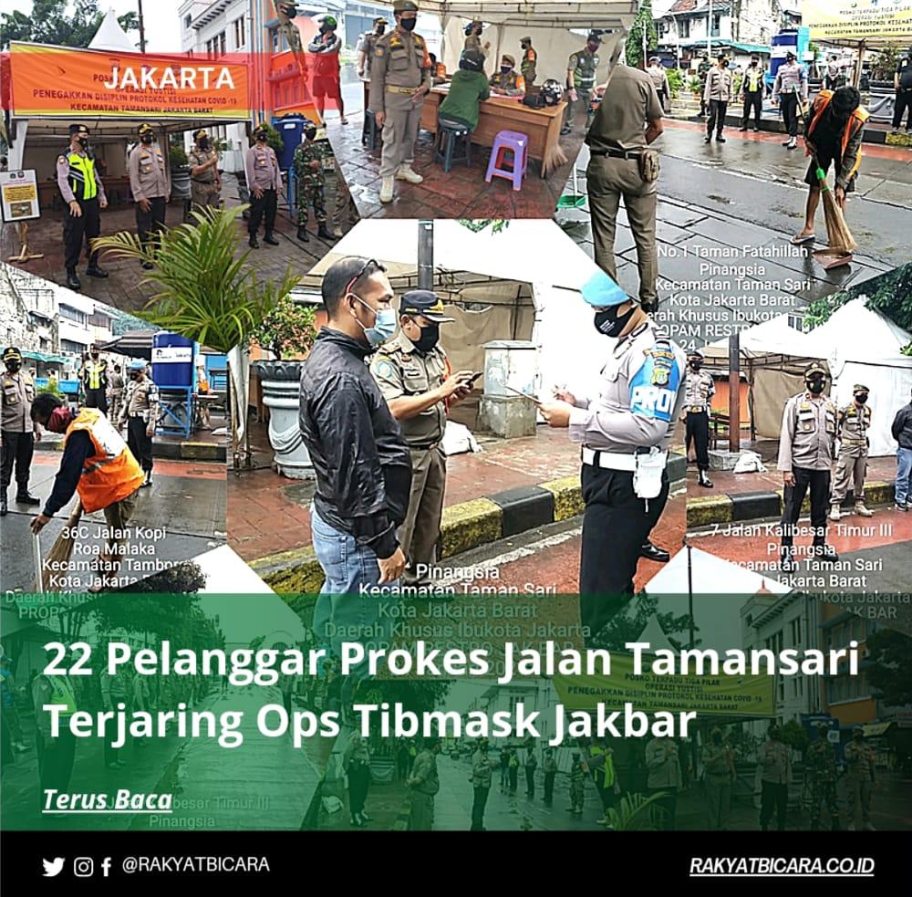 22 Pelanggar Prokes Jalan Tamansari Terjaring Ops Tibmask Jakbar