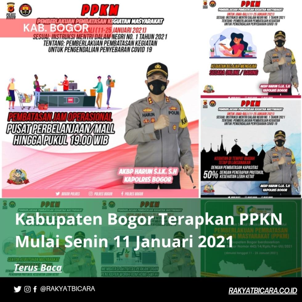 Kabupaten Bogor Terapkan PPKN Mulai Senin 11 Januari 2021