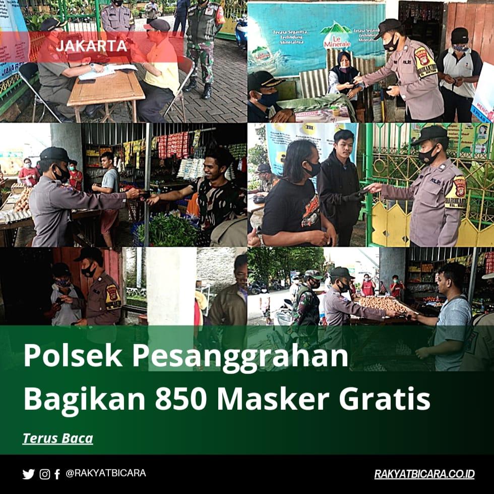 Polsek Pesanggarahan Bagikan 850 Masker Gratis