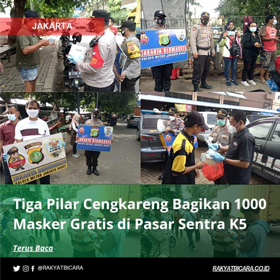 Tiga Pilar Cengkareng Bagikan 1000 Masker Gratis di Pasar Sentra K5