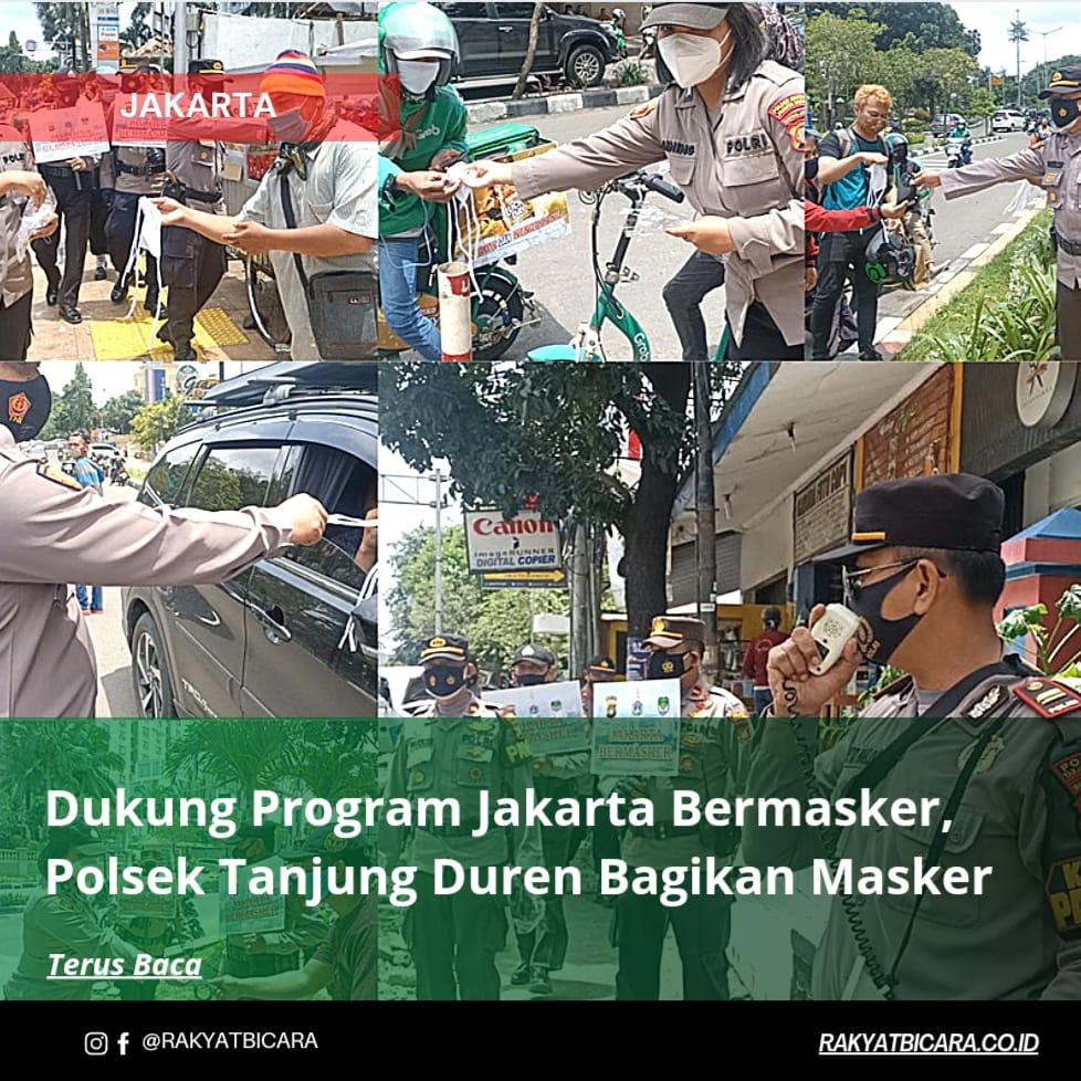 Dukung Program Jakarta Bermasker, Polsek Tanjung Duren Bagikan Masker Gratis