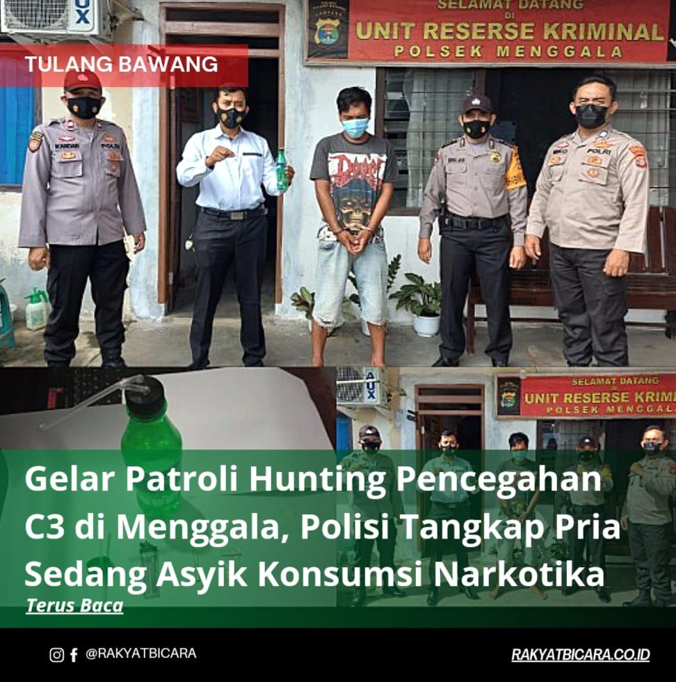 Gelar Patroli Hunting Pencegahan C3 di Menggala, Polisi Tangkap Pria Sedang Asyik Konsumsi Narkotika