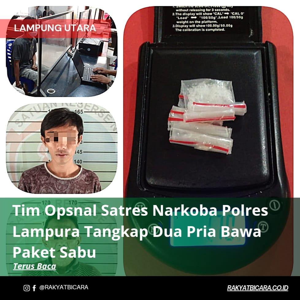 Tim Opsnal Satres Narkoba Polres Lampura Tangkap Dua Pria Bawa Paket Sabu