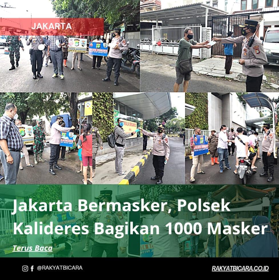 Jakarta Bermasker, Polsek Kalideres Bagikan 1000 Masker