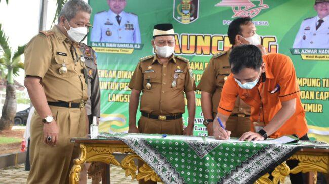 Bupati Lampung Timur Hadiri Launching Kerjasama Disdukcapil Dengan PT. Pos Indonesia