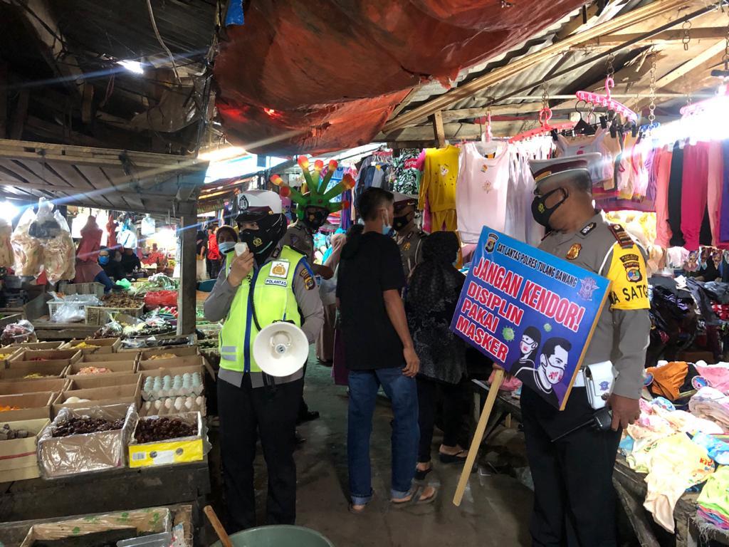 Gelar Operasi Keselamatan Krakatau-2021 di Pasar Unit 2, Ini Yang Dilakukan Oleh Satlantas Polres Tulang Bawang