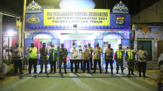 Pos Pengamanan Operasi Ketupat Krakatau 2021 Ditinjau Bupati-Wabup Lamtim
