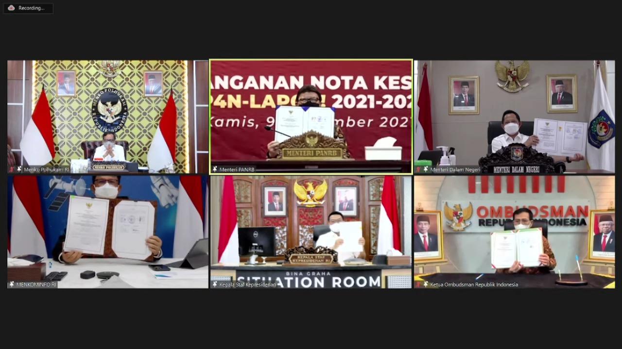 Tandatangani Nota Kesepahaman Lintas Kementerian/Lembaga, Kemendagri Dorong Penguatan SP4N-LAPOR! di Daerah