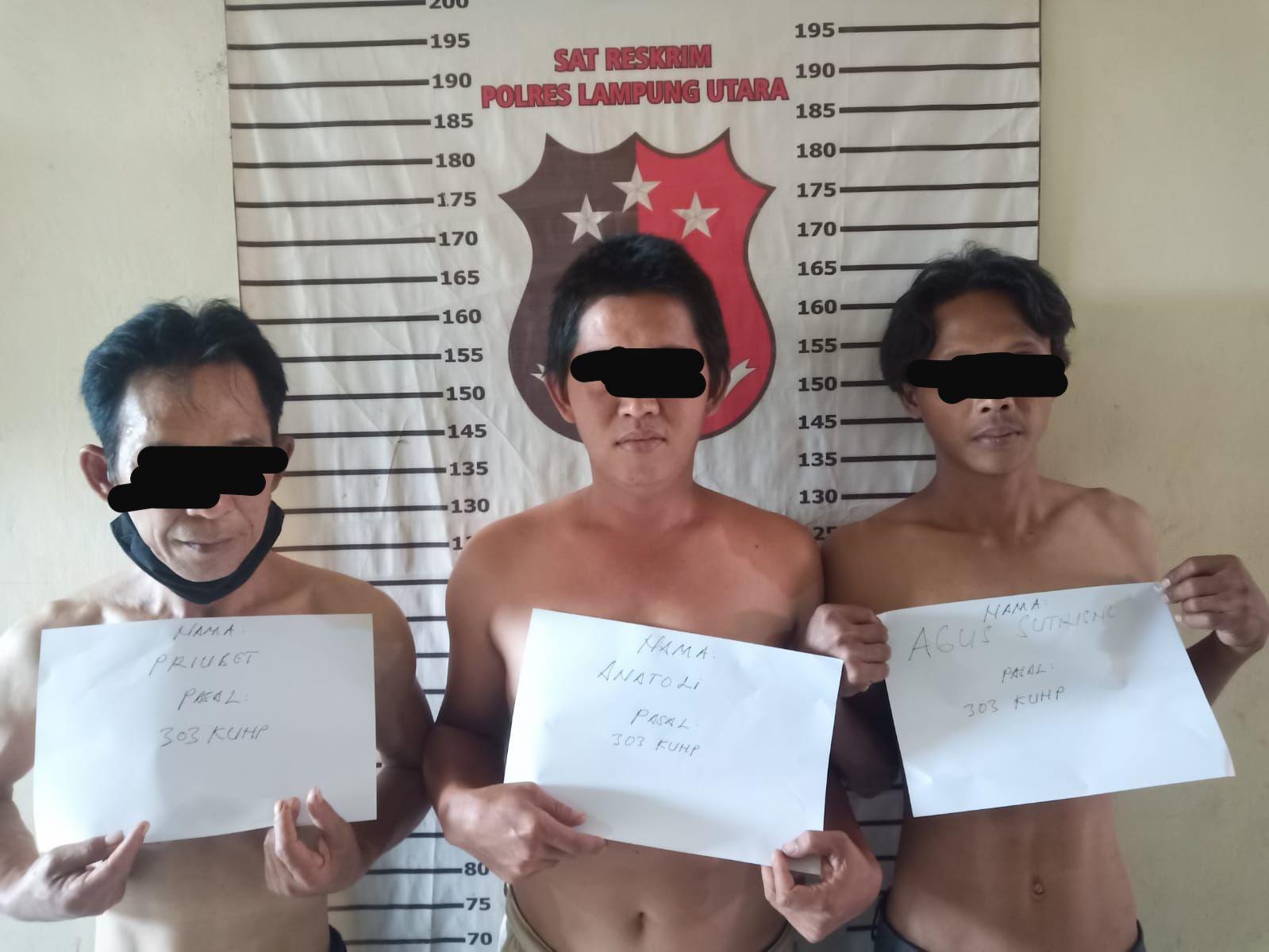 TEKAB 308 Sat Reskrim Polres Lampung Utara Ringkus 3 Orang Pelaku Judi Leng