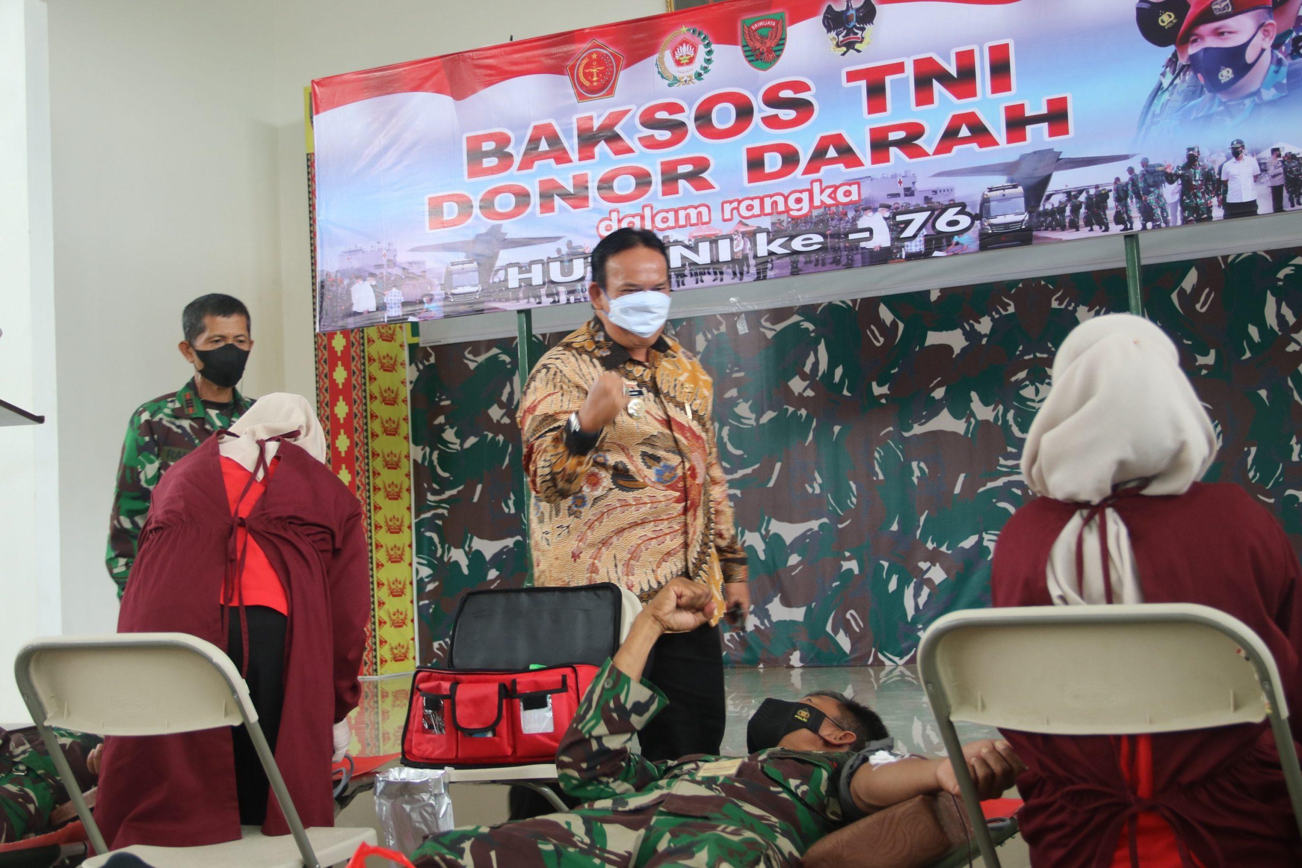 HUT TNI Ke-76Kodim 0429/Lamtim Gelar Bhaksos Donor Darah