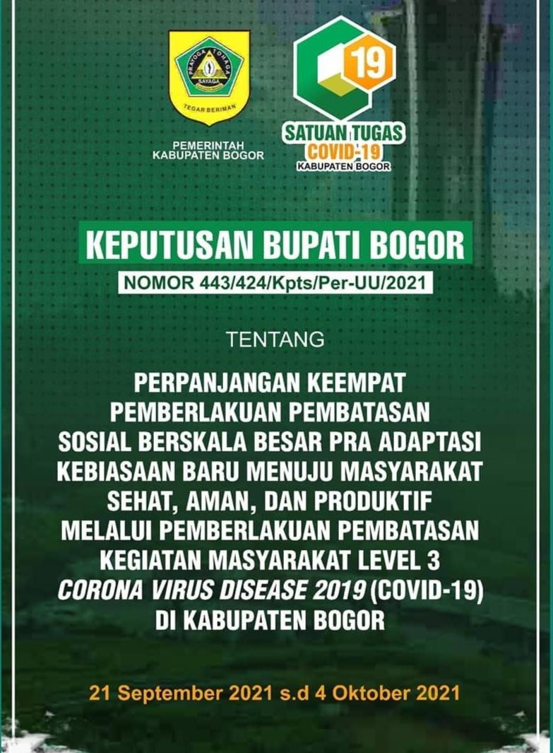 Bupati Bogor Perpanjang PPKM Level 3, Ini Aturan Barunya…