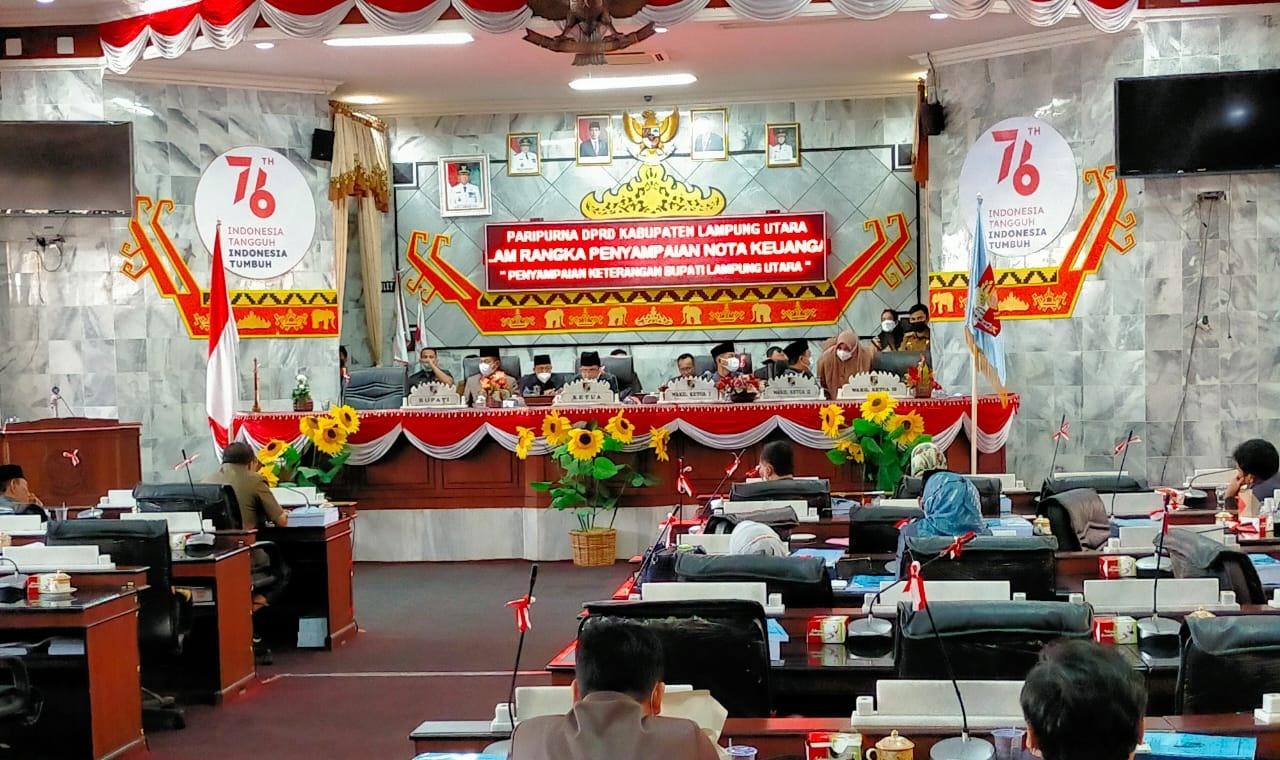 Rancangan Perubahan APBD dan Raperda Tahun 2021 Penyampaian Nota Keuangan Lampung Utara
